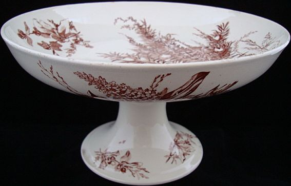 Brown Aesthetic Transferware Fruit Comport ~ 1880