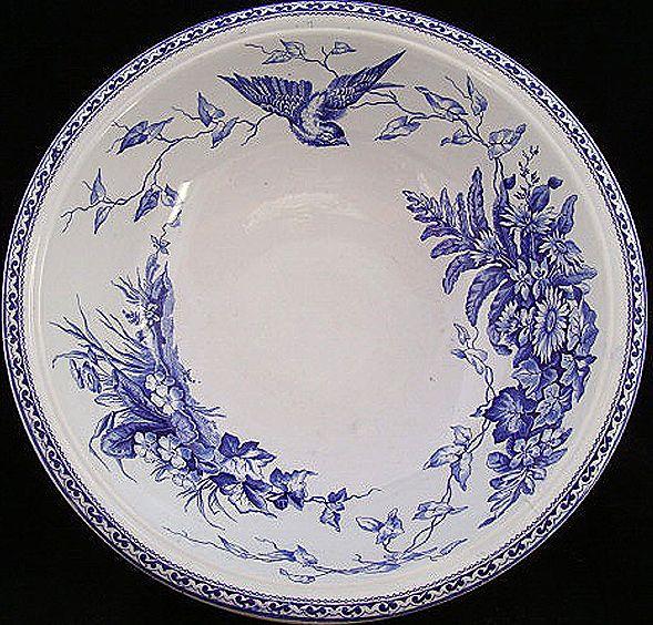 Antique Blue Transferware Wash Basin FLORENCE 1875