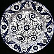 19th Century Aesthetic Transferware Plate ~ TEHERAN 1880