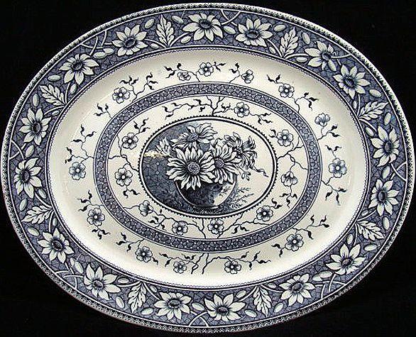 Aesthetic Transferware Platter ~ Flower Pot Daisies  PALMYRA 1883
