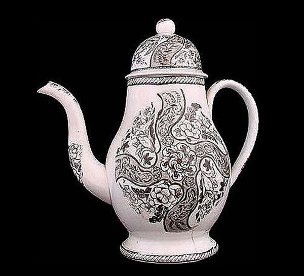 Spectacular Pearlware Transfer Dometop Coffee Pot c1810