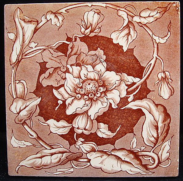 Aesthetic Brown Transferware Tile ~ PASSION VINE 1885