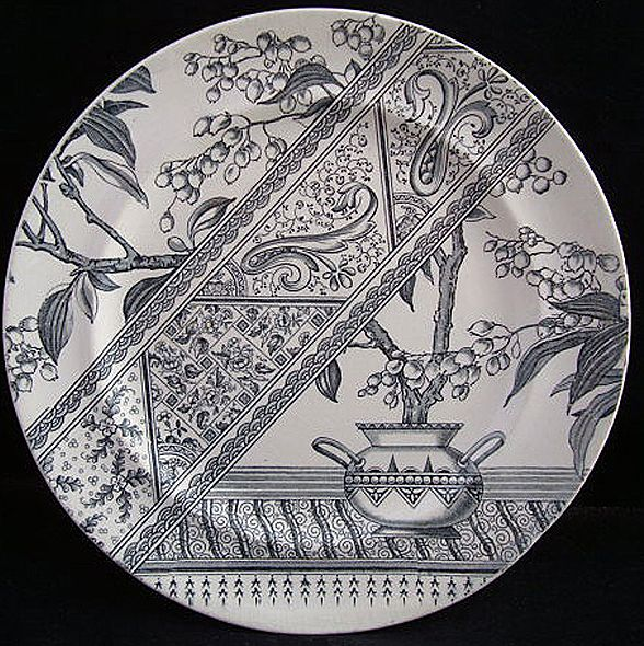 Charcoal Transferware Aesthetic Plate ~ CHESTERFIELD 1886