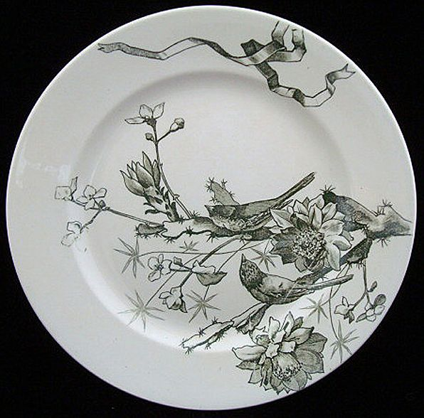 Green Transferware Plate ~ BIRDS & FLOWERS 1880