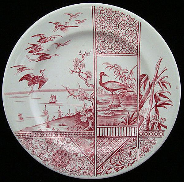 Aesthetic Dark Red Transferware Plate 1883