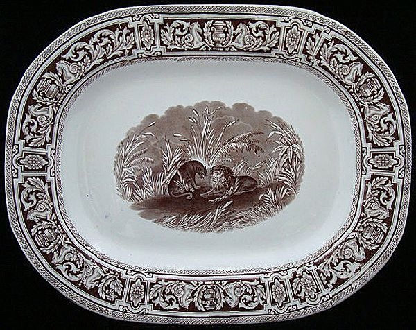Early Brown Staffordshire Platter ~ PEGASUS 1840