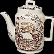 Miniature Brown Aesthetic Transferware Teapot ~ WATER HEN