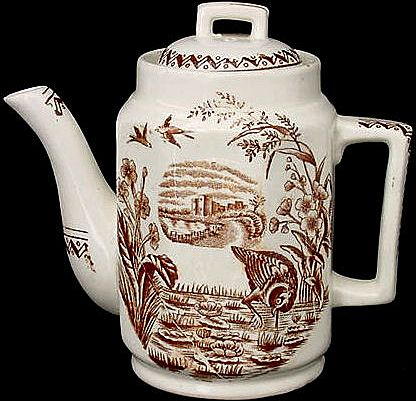 Miniature Brown Aesthetic Transferware Teapot ~ WATER HEN