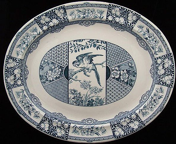 Outstanding Wedgwood Aesthetic Transfer Platter ~ Parrot + Fruit PANAMA 1880