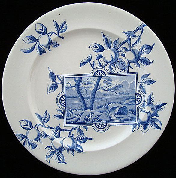Superb Blue Transferware Plate ~ River Bend 1894