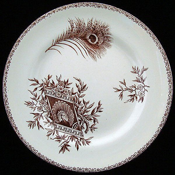 French Brown Transferware Plate ~ PEACOCK  1880