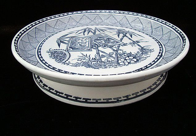 Aesthetic Transferware CHEESE STAND ~ Bamboo 1885