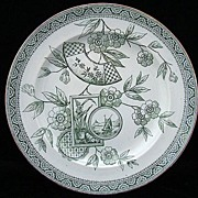 Aesthetic Green Transferware Plate ~ ORCHIDS 1882