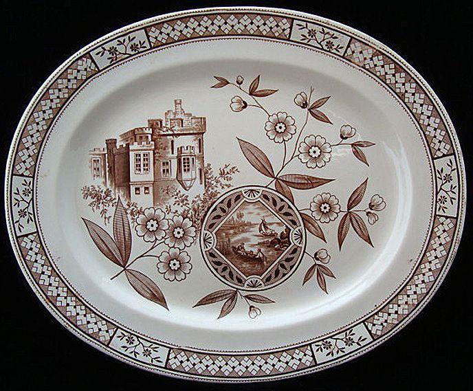 Brown Aesthetic Platter ~ Castle & Sailboat 1872