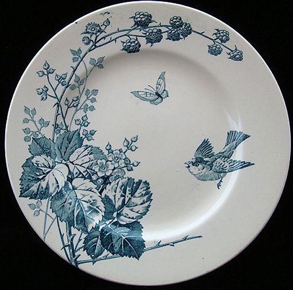 Victorian Staffordshire Plate ~ Raspberries 1885