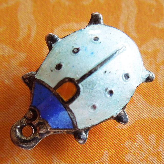 Vintage Light Blue Enamel Ladybug Ladybird Silver Charm