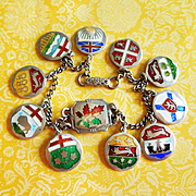 Vintage Enamel Canadian Provinces Sterling Silver Charm Bracelet with Lake Louise Maple Leaf Plaque