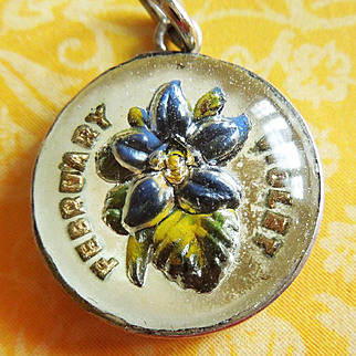 Vintage February Violet Reverse-Painted Crystal Sterling Silver Bubble Charm ~ Beau Flower Of The Month