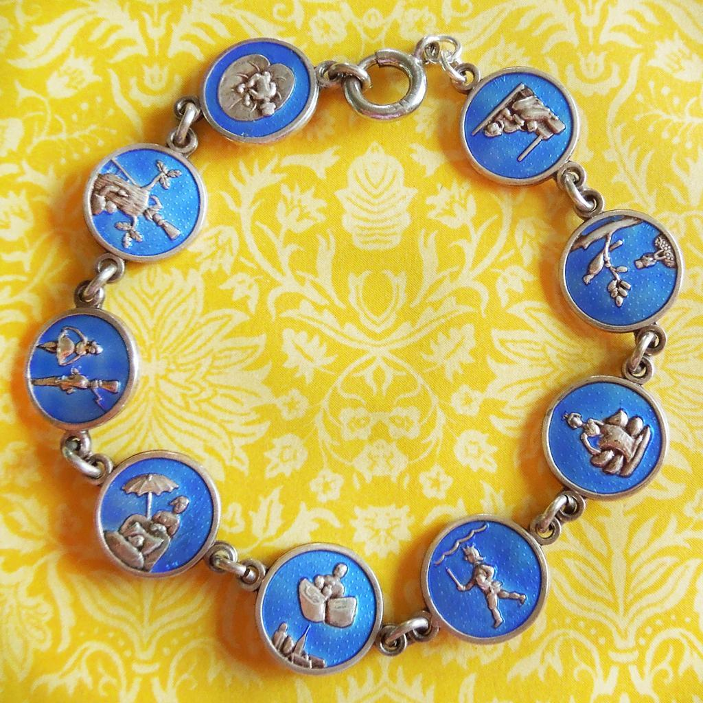 Vintage Enamel Hans Christian Andersen Fairy Tales Linked Disks Charms Bracelet