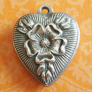 Vintage Tudor Rose Puffy Heart Sterling Silver Charm Hand-engraved JULIA
