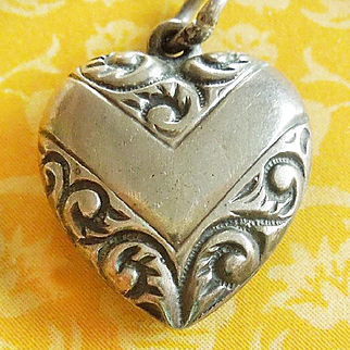 Vintage Chevron Puffy Heart Sterling Silver Charm Hand-Engraved MOTHER