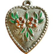 Vintage Enamel Flowers Puffy Heart Sterling Silver Charm ~ Autumn Colors