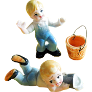 Set of 3 Jack with Pail from Jack and Jill Went Up The Hill Nursery Rhyme Hi Style Bone China Figurines Japan