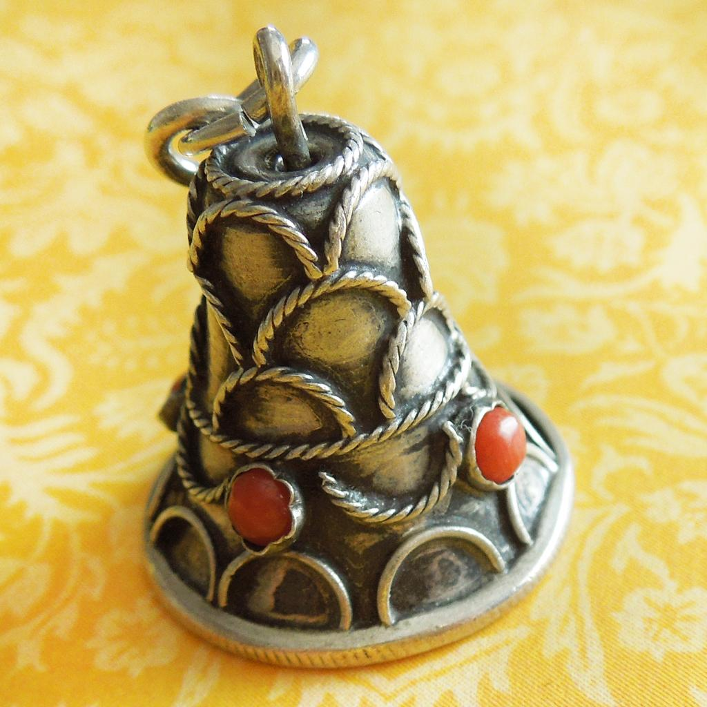 Vintage Etruscan-Revival Bell with Bezeled Stones 800 Silver Charm Pendant