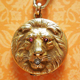 Victorian Lion Locket with Paste Stones on Gold-Filled Watch Chain
