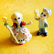 Set of 2 Little Bo Peep and Little Boy Blue Nursery Rhyme Hi Style Bone China Figurines Japan