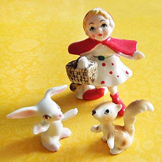 Set of 3 Little Red Riding Hood Nursery Rhyme Hi Style Bone China Figurines Japan