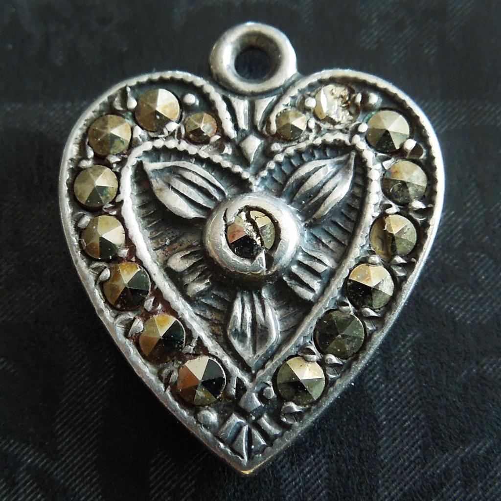 Vintage Puffy Heart with Marcasite Stones Sterling Silver Charm ~ Engraved Bertha