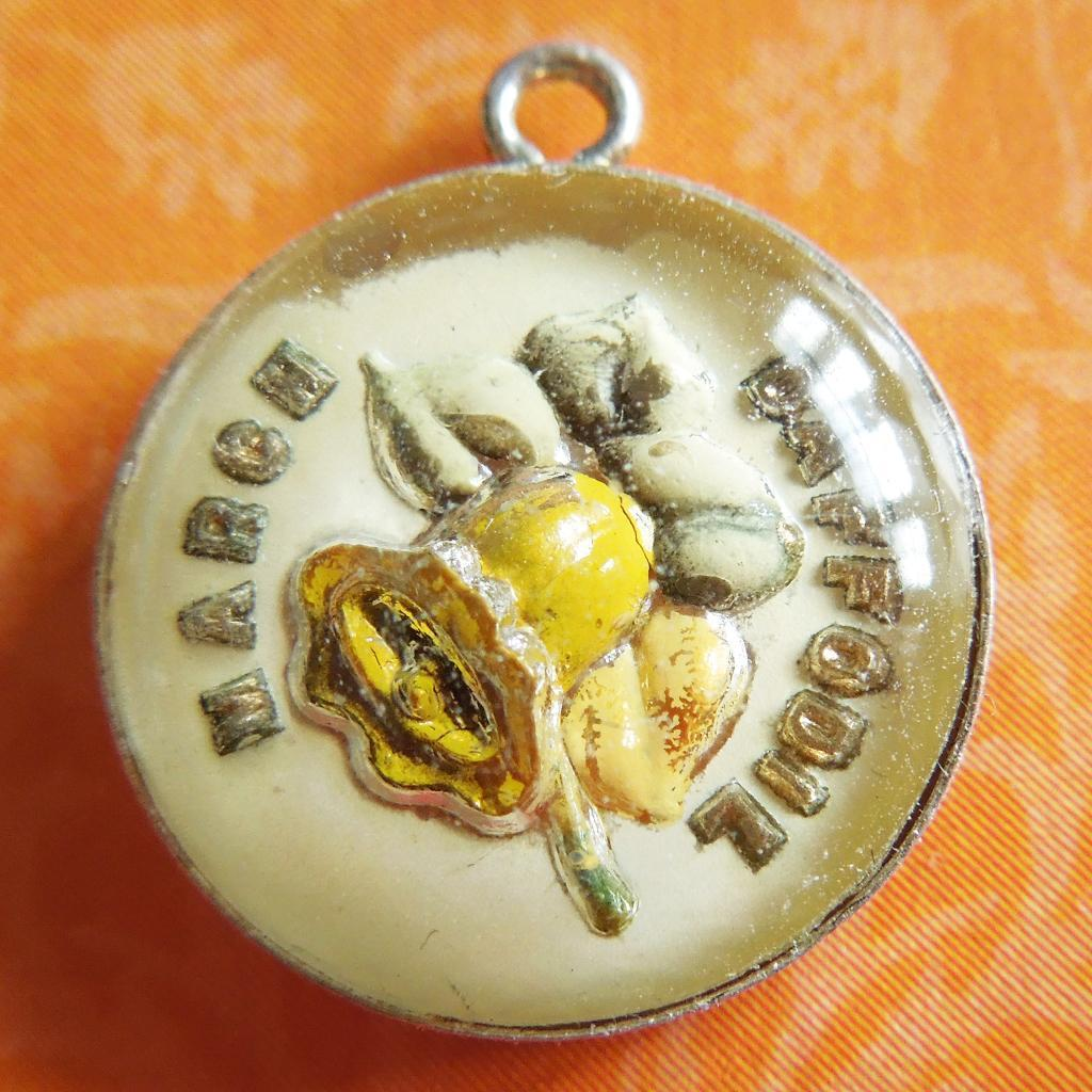 Vintage March Daffodil Reverse-Painted Crystal Sterling Silver Bubble Charm ~ Beau Flower Of The Month