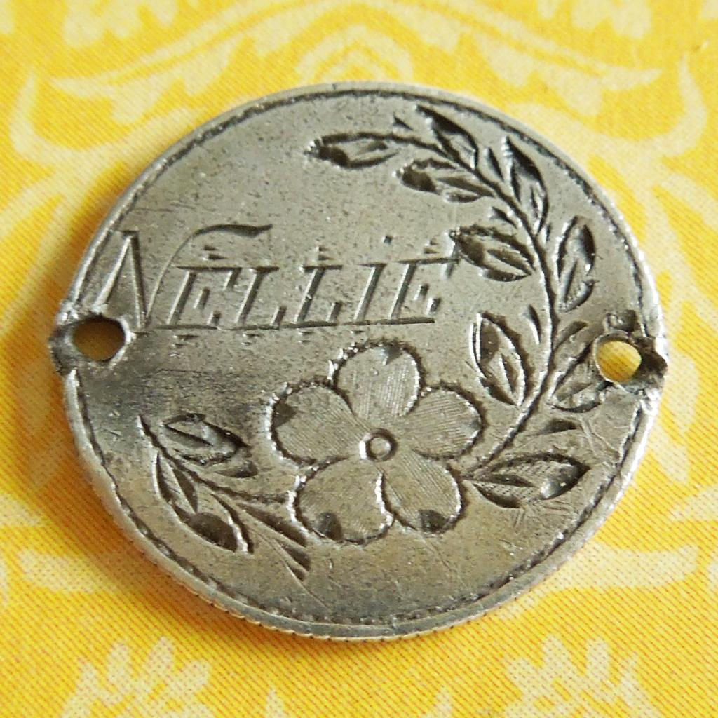 Victorian 1874 Engraved Nellie Flowers Love Token Charm