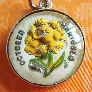 Vintage October Marigold Reverse-Painted Crystal Sterling Silver Bubble Charm ~ Beau Flower Of The Month