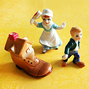 Set of 3 Old Woman Who Live In A Shoe Nursery Rhyme Hi Style Bone China Figurines Japan