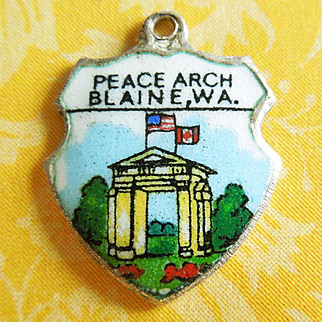 Vintage Enamel Peace Arch Canada-United States Border Sterling Silver Shield Charm