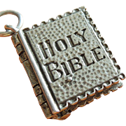 Vintage Holy Bible Ten Commandments Pages Move Sterling Silver Charm by Terranova
