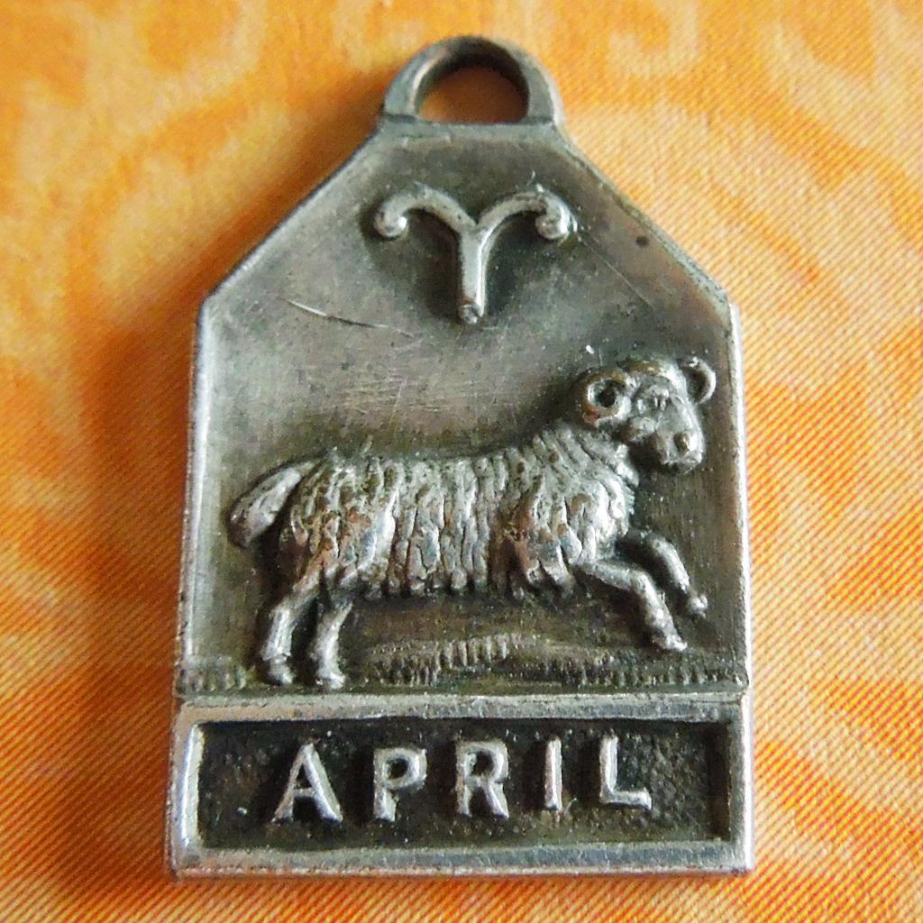 Vintage 1940's April Zodiac Art Deco Silver Plated Charm