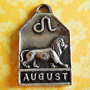 Vintage 1940's August Zodiac Art Deco Silver Plated Charm