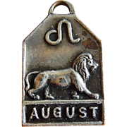 Vintage 1940's August Zodiac Art Deco Silver Plated Charm