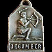 Vintage 1940's December Zodiac Art Deco Silver Plated Charm