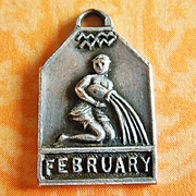 Vintage 1940's February Zodiac Art Deco Silver Plated Charm