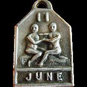 Vintage 1940's June Zodiac Art Deco Silver Plated Charm