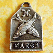 Vintage 1940's March Zodiac Art Deco Silver Plated Charm