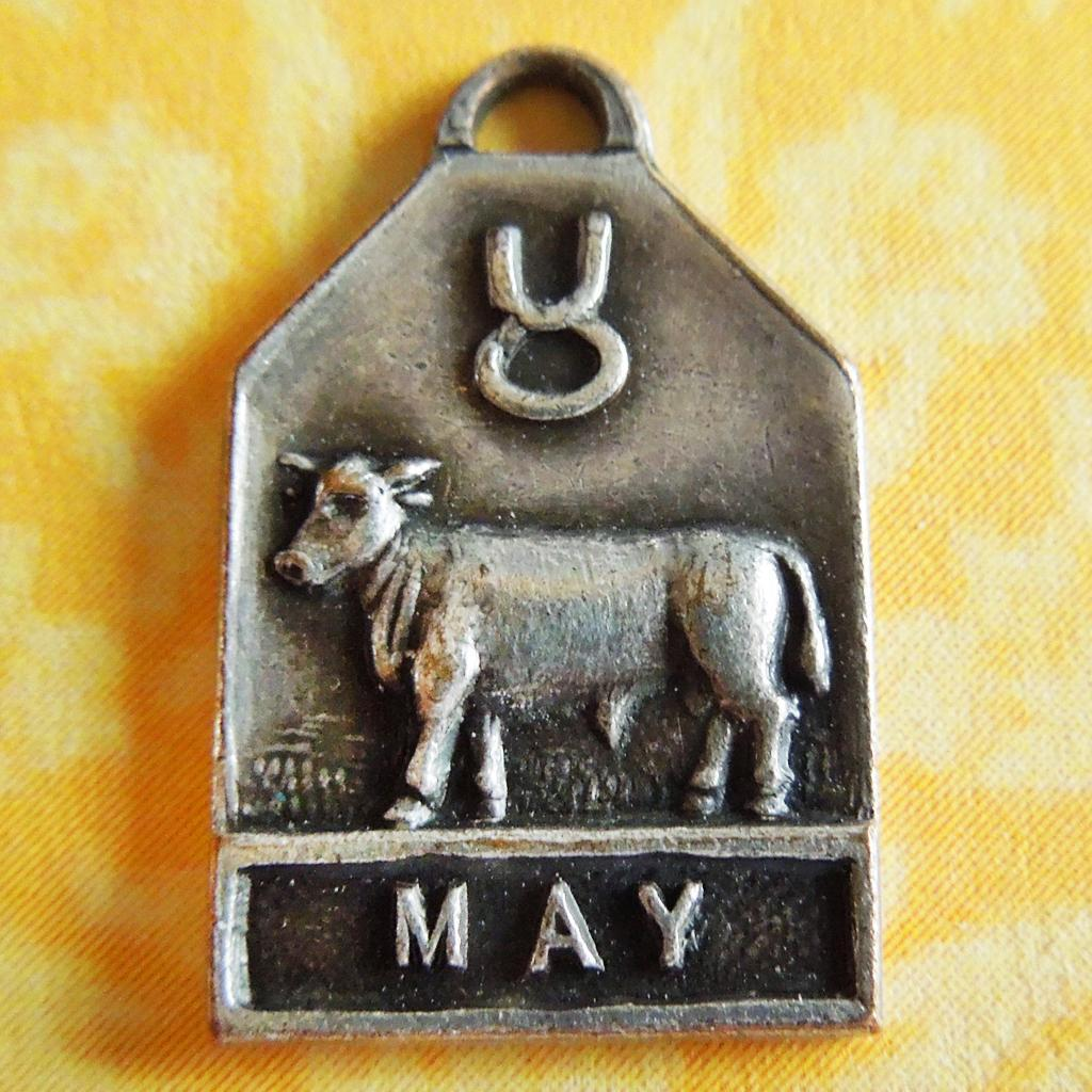 Vintage 1940's May Zodiac Art Deco Silver Plated Charm