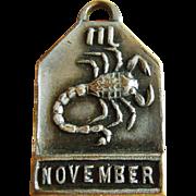 Vintage 1940's November Zodiac Art Deco Silver Plated Charm