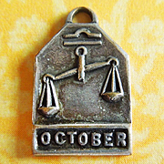 Vintage 1940's October Zodiac Art Deco Silver Plated Charm