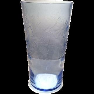 """Tiffin Copen Blue #5859 - 12"""" (H) Flip Vase with Floral & Leaf Cutting"""