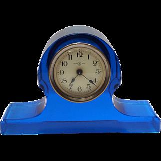 Seikosha, Tokyo, Japan Vibrant Blue Glass Mantle or Desk Clock with Metal Hand-Wind Mechanism